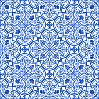 Blue and white damask floral pattern
