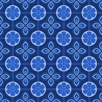 Blue and white damask floral seamless pattern background.