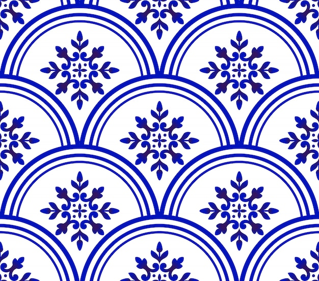 Blue and white damask pattern