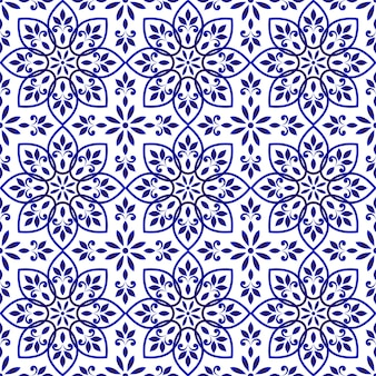 Blue and white decorative tile pattern