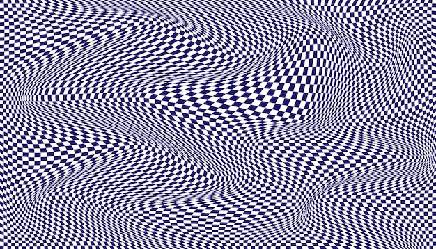Blue and white distorted checkered background