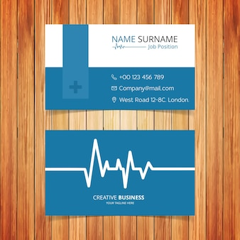 Blue and white ecg business card
