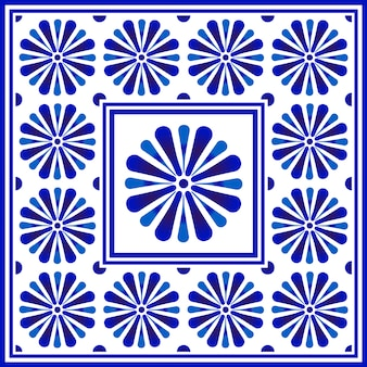Blue and white floral pattern, chinese and japanese porcelain decorative, ceramic seamless ceiling design, big flower element in center is frame, beautiful tile design