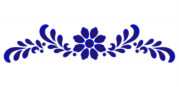 Blue and white flower decorative element for design porcelain and ceramic