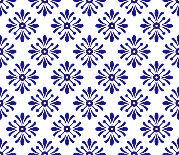 Blue and white flower pattern, ceramic background, porcelain design, wallpaper decor vecto