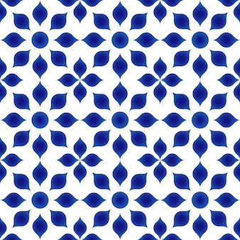 Blue and white flower pattern indigo style, porcelain flora seamless background