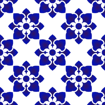 Blue and white flower pattern