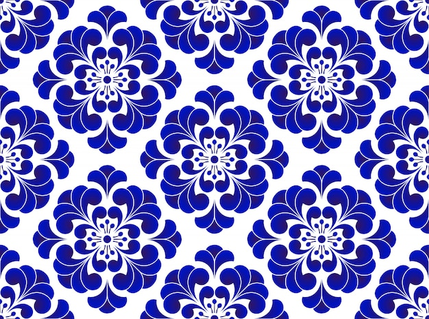 Blue and white flower seamless pattern, cute ceramic background