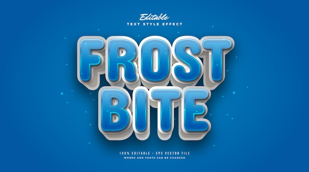 Blue and white frostbite text style with 3d effect. editable text style effect