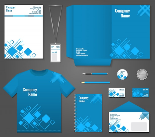 Blue and white geometric technology business stationery template for corporate identity and branding set vector illustration