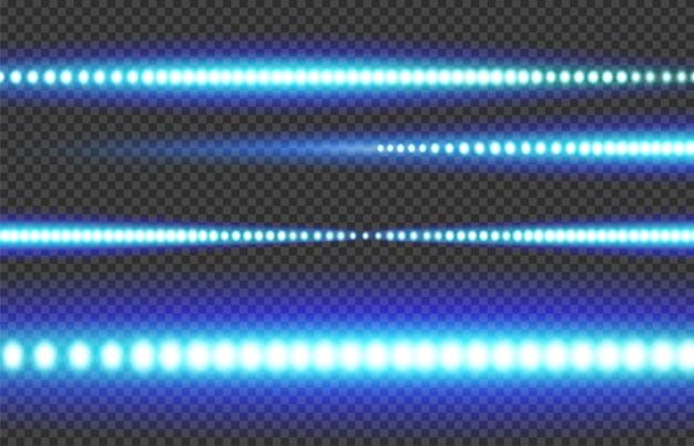 透明な背景に青白く光るledライトストリップ。