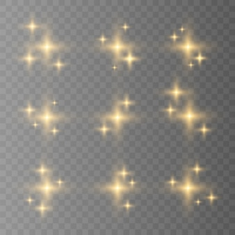 Blue, white, gold, orange sparkles symbols vector. the set of original vector stars sparkle icon. bright firework, decoration twinkle, shiny flash.