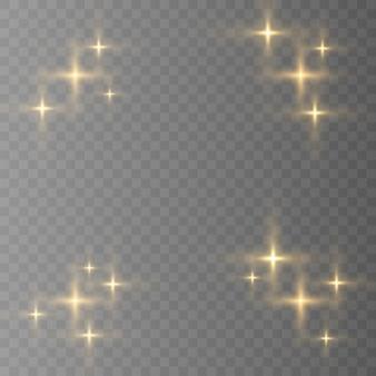 블루, 화이트, 골드, 오렌지 반짝 기호 벡터. 원래 벡터 별 스파클 아이콘 세트. 밝은 불꽃, 장식 반짝임, 반짝임 플래시.
