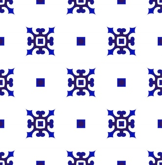 Blue and white japan and chinese seamless pattern, porcelain ceramic design