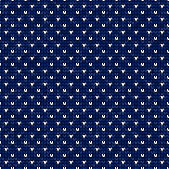 Blue and white knitting seamless pattern