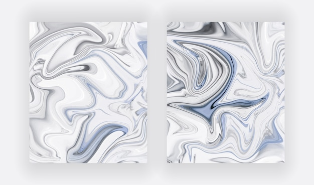 Blue and white liquid ink painting abstract set