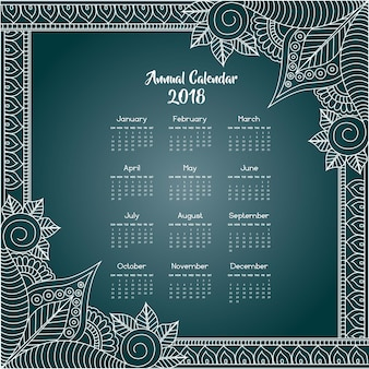 Blue and white mandala style floral calendar 2018
