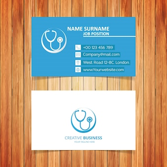 Blue and white medical business card