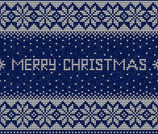 Blue and white merry christmas knitting seamless pattern background