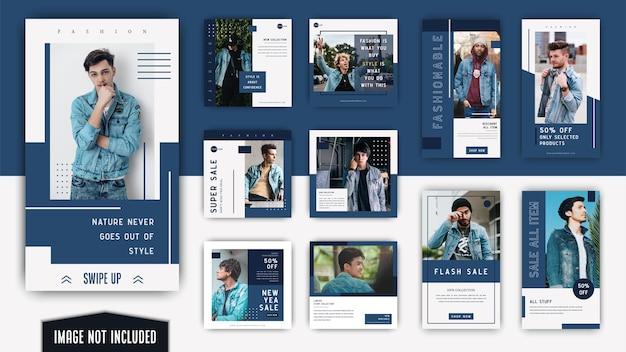 Blue white minimalist simple elegant fashion men social media instagram post and stories template
