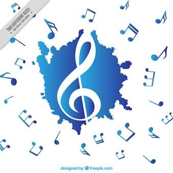 Blu e sottofondo musicale bianco