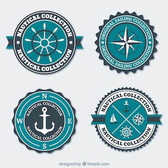 Blue and white nautical badges in flat design