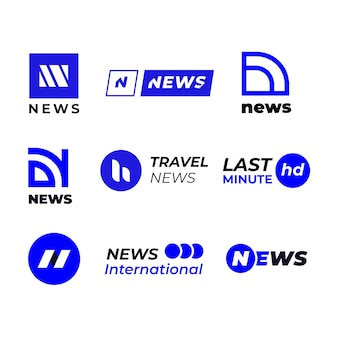Blue and white news business company logo