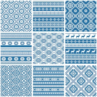 Blue and white ornamental ethnic seamless patterns