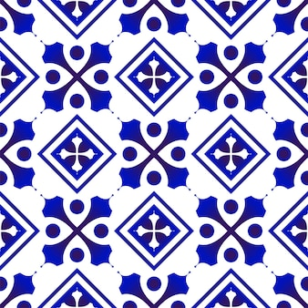 Blue and white pattern seamless
