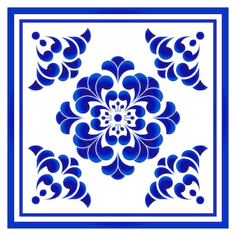 Blue and white porcelain flower pattern chinese and japanese style, big floral element cen
