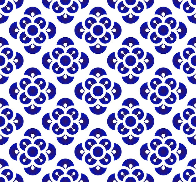 Blue and white porcelain flower pattern chinese and japanese style, ceramic floral seamles