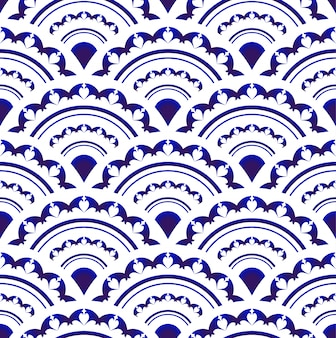 Blue and white porcelain seamless design, islam, arabic, indian, ottoman motif, endless pattern