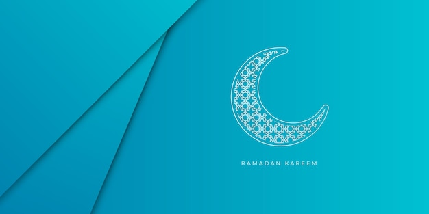 Blue and white ramadan background with crescent moon decoration. ramadan kareem islamic banner template with copy space background