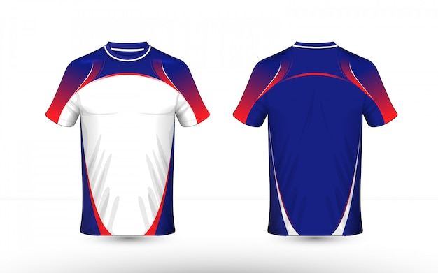 Blue, white and red layout e-sport t-shirt design template