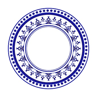Blue and white round design