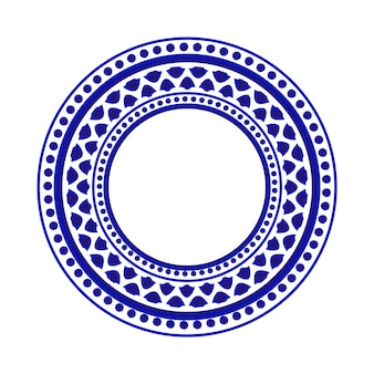 Blue and white round pattern