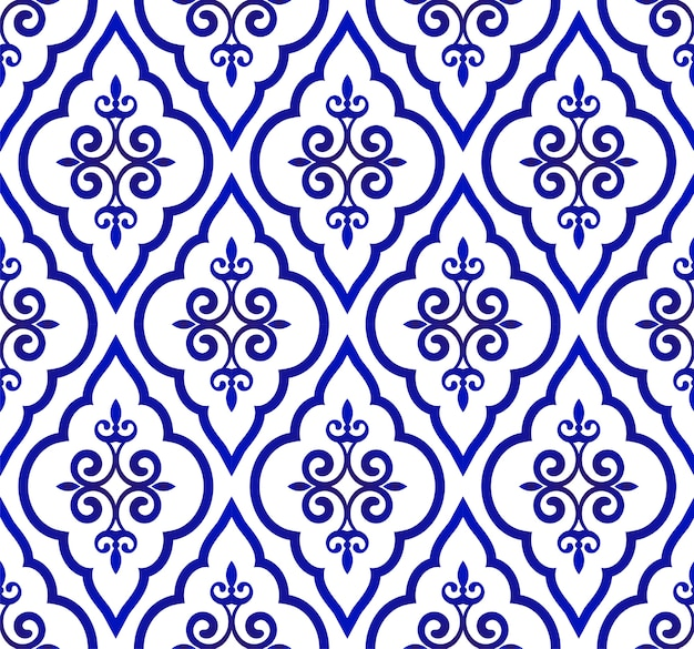 Blue and white royal pattern, seamless background islamic classic style, abstract orient w