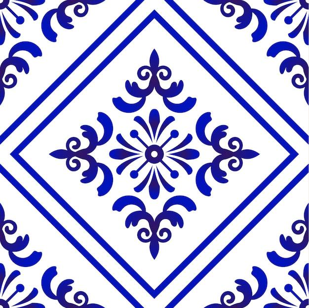 Blue and white seamless pattern damask style, ceramic tile design, porcelain decor vector