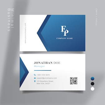 Blue and white smart business card