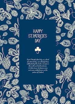 Blue and white square frame sketch composition greeting card with many traditional elements around the text about st. patricks day  vector illustration