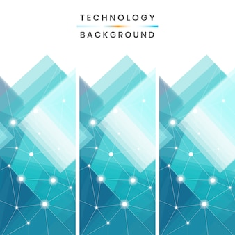 Blue and white technology banners vector collection