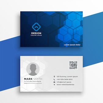 Blue and white technology business card
