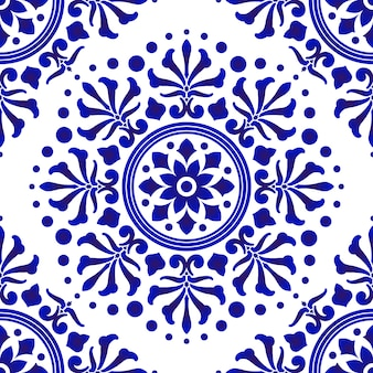 Blue and white tile pattern, abstract floral decorative seamless for design, porcelain, chinaware, ceramic, tile, ceiling, texture, mandala, wallpaper, floor and wall