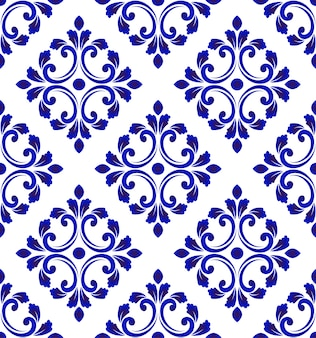 Blue and white tile pattern seamless