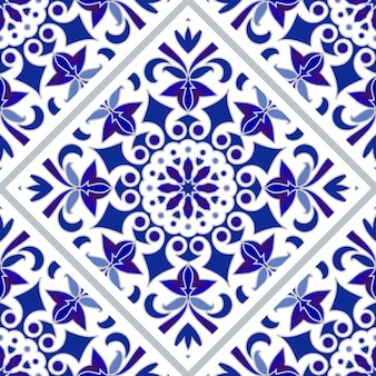 Blue and white tile pattern