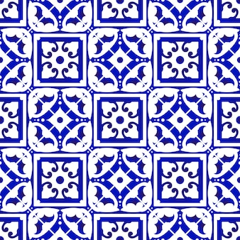 Blue and white tile seamless pattern