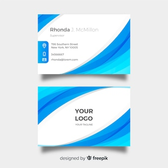 Blue and white visiting card template