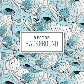 Blue and white wave japanese art pattern  background
