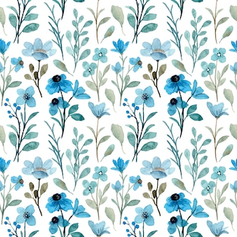 Blue wild floral watercolor seamless pattern