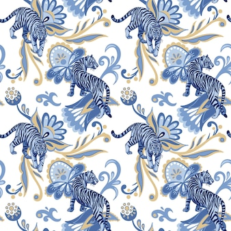 Blue wild tigers and abstract persian flowers and leaves vector seamless pattern